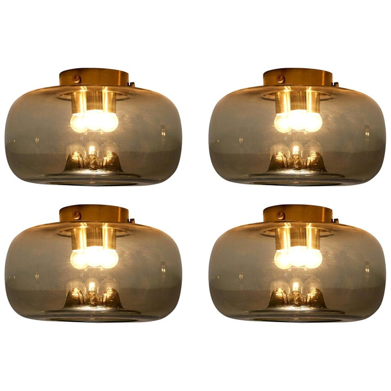 RAAK Amsterdam Four Ceiling Lights in Smoked Glass and Brass For Sale