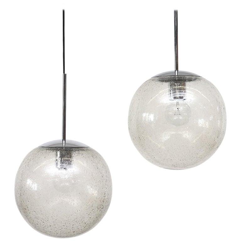 "RAAK ""B-1226"" Smoked Glass Globe Pendant For Sale"
