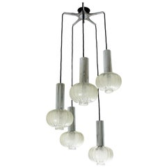 RAAK Cascade Five-Light Chandelier in Glass and Chromed Steel