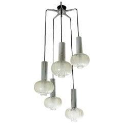RAAK Cascade Five-Light Chandelier in Glass and Chromed Steel