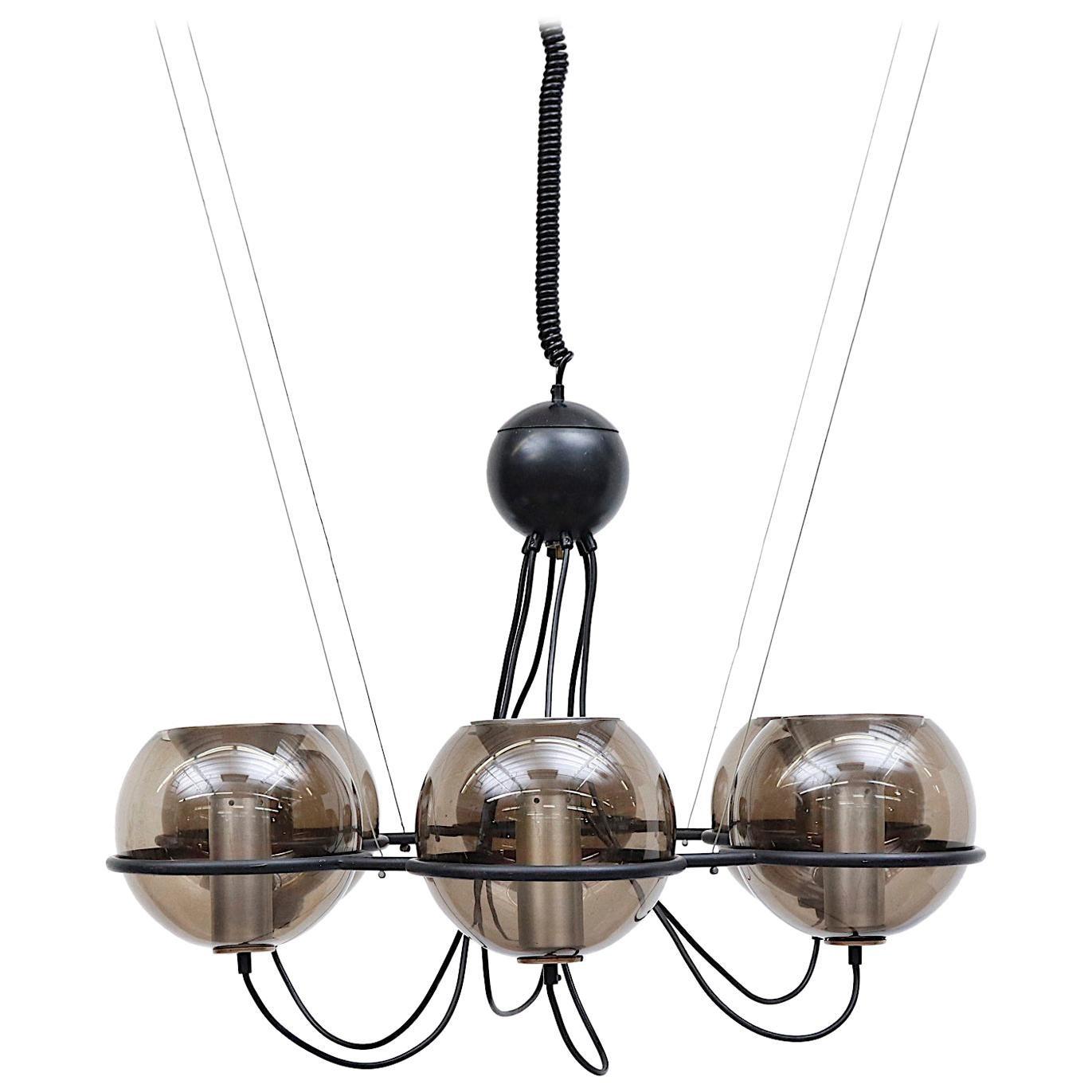 RAAK 'Saturnus' Smoked Globe Chandelier