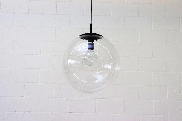 Dutch RAAK Style Midcentury Clear Acrylic Pendant Globe For Sale