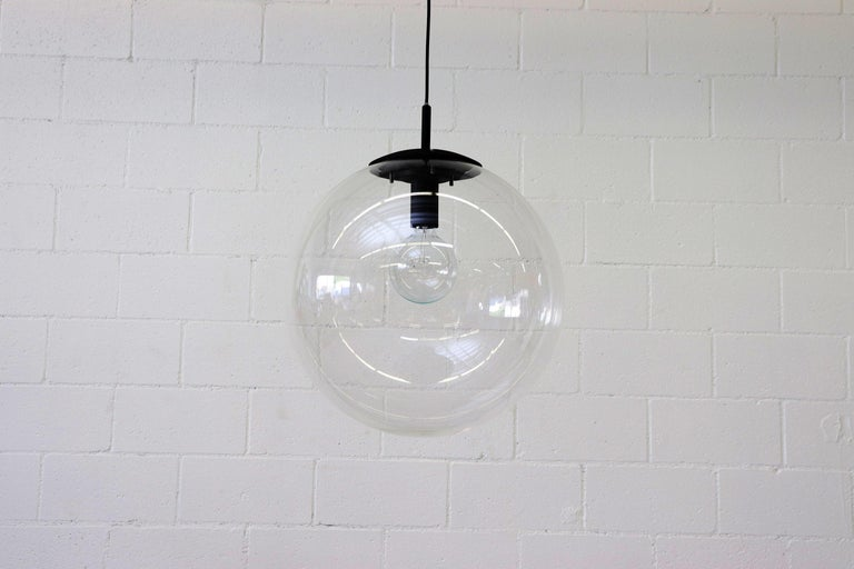 Enameled RAAK Style Midcentury Clear Acrylic Pendant Globe For Sale