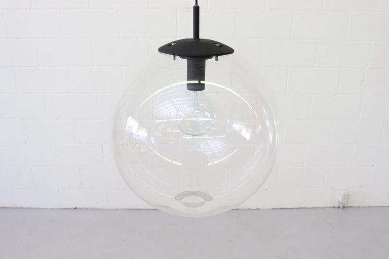 Late 20th Century RAAK Style Midcentury Clear Acrylic Pendant Globe For Sale