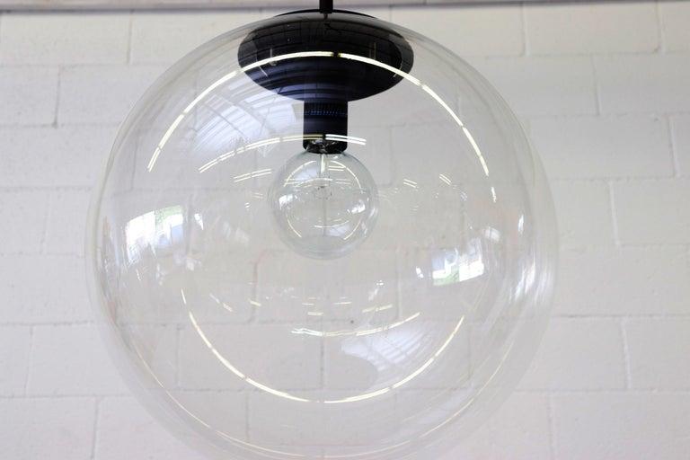 Metal RAAK Style Midcentury Clear Acrylic Pendant Globe For Sale