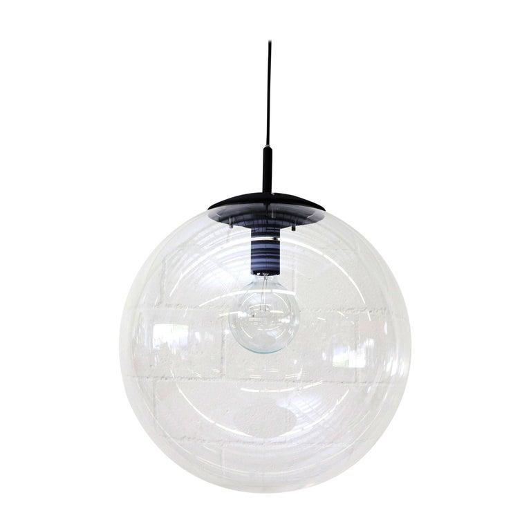 RAAK Style Midcentury Clear Acrylic Pendant Globe For Sale