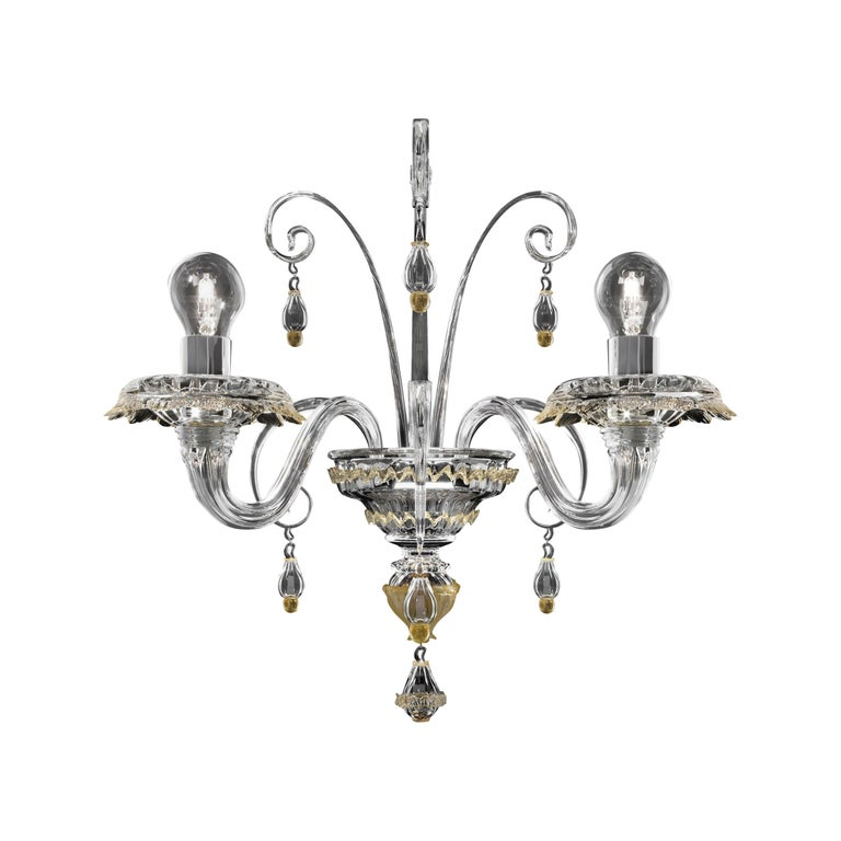 For Sale: Yellow (Crystal Gold Decoration_DO) Rabat 4513 02 Wall Sconce in Glass, by Barovier&Toso
