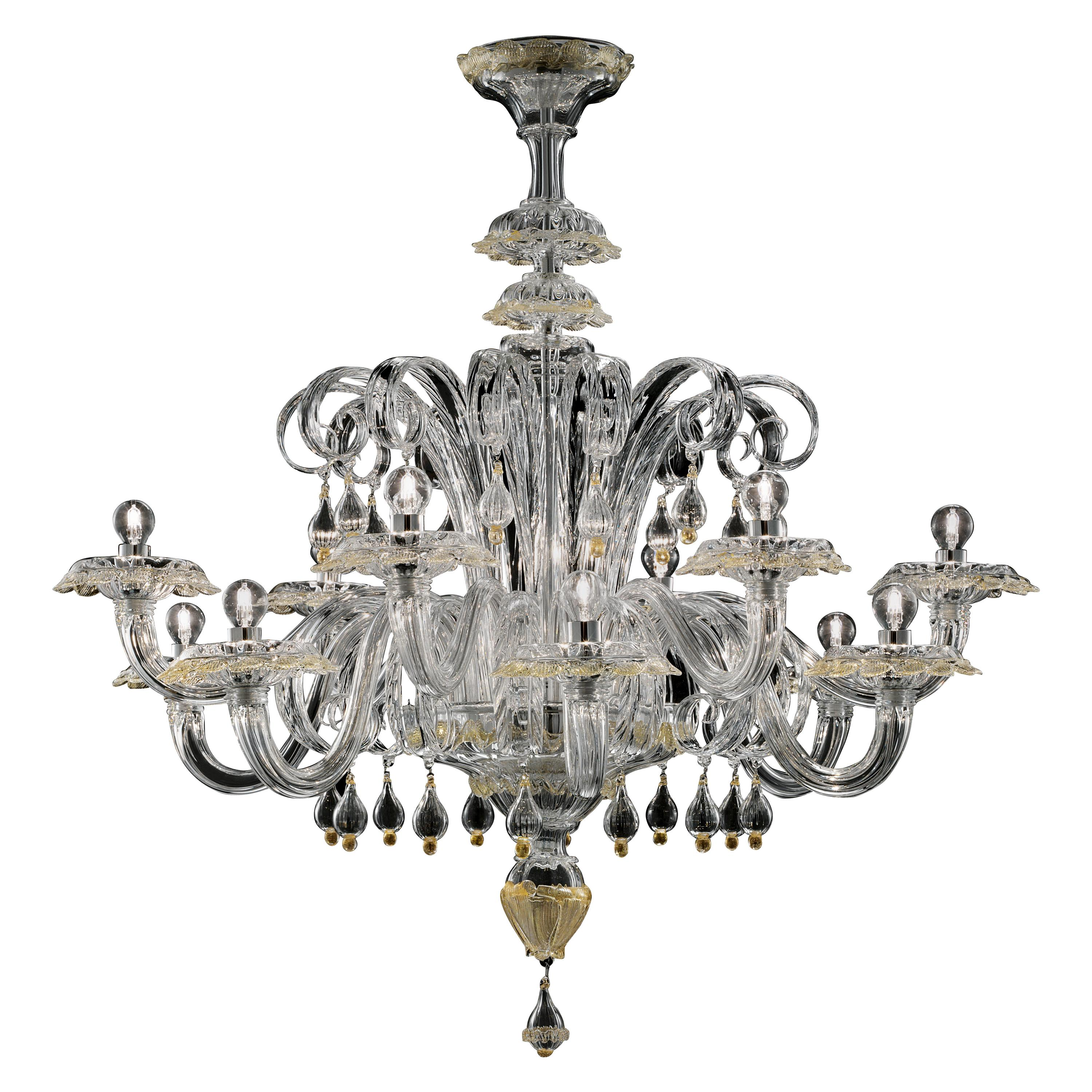 Rabat 4513 12 Chandelier in Glass, by Barovier & Toso