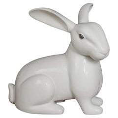 Rabbit Sculpture, Cream Lacquer by Robert Kuo, Hand Repousse, Limited Edition