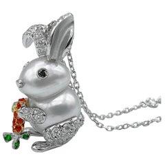 Rabbit White Black Diamond Orange Sapphire Tsavorite 18Kt Gold Pendant Necklace