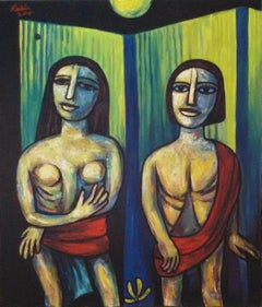 """Couple, Oil & Acrylic on Canvas by Modern Indian Artist """"In Stock"""""""