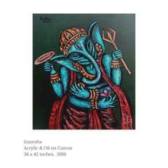 "Ganesha, God, Acrylic & Oil on Canvas by Modern Indian Artist ""In Stock"""