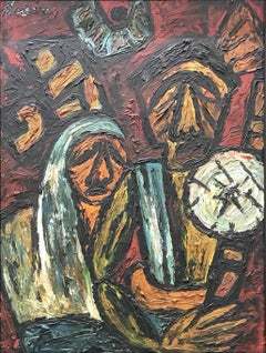 """Migrant Workers, Oil on Board by Modern Indian Artist """"In Stock"""""""