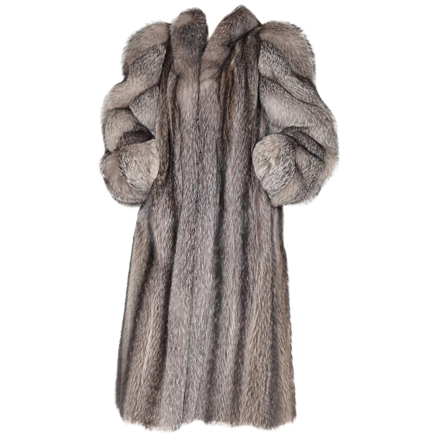 Raccoon fur coat with silver fox trim and sleeves size 8-10