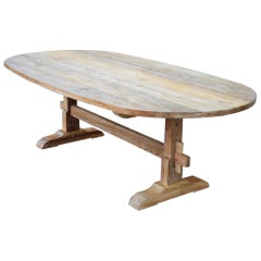 Racetrack Farm Table Made from Reclaimed Pine