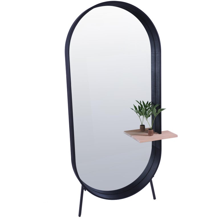Racetrack mirror, contemporary floor mirror with shelf by Pat Kim. For Sale