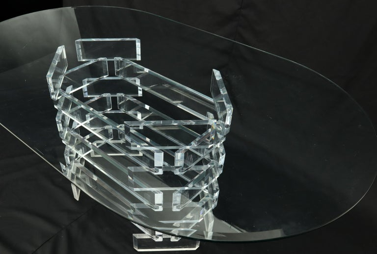 Racetrack Oval Glass Top Stacked Lucite Blocks Base Dining Table For Sale 3