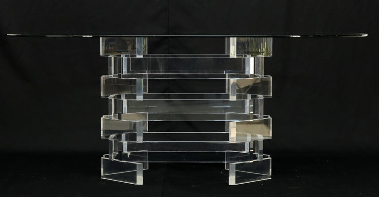 Racetrack Oval Glass Top Stacked Lucite Blocks Base Dining Table For Sale 4