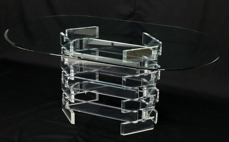 Racetrack Oval Glass Top Stacked Lucite Blocks Base Dining Table For Sale 5