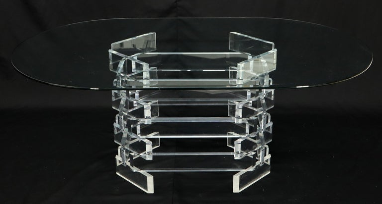 Racetrack Oval Glass Top Stacked Lucite Blocks Base Dining Table For Sale 6