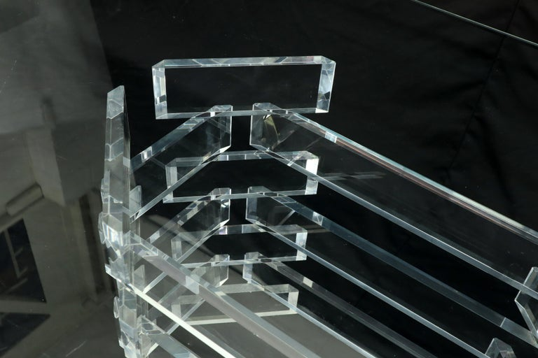 Mid-Century Modern stacked Lucite base glass top dining conference table.