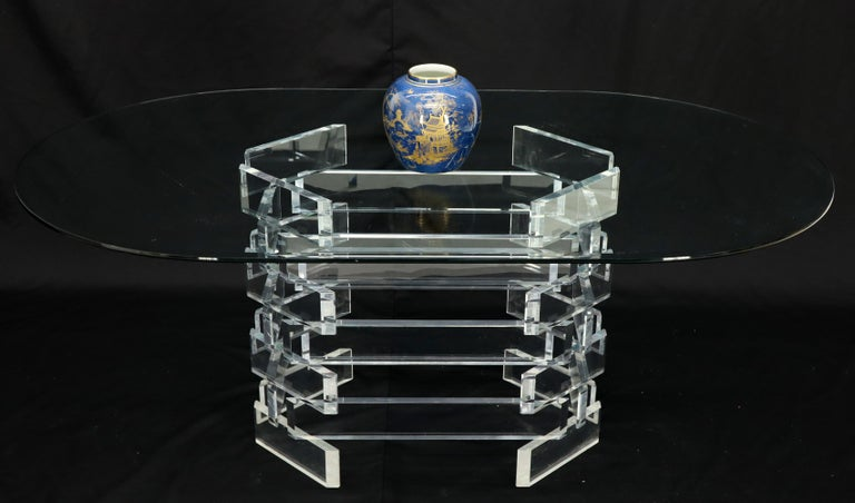 Mid-Century Modern Racetrack Oval Glass Top Stacked Lucite Blocks Base Dining Table For Sale