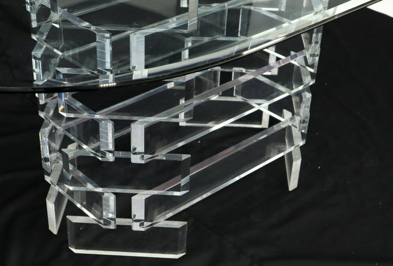 American Racetrack Oval Glass Top Stacked Lucite Blocks Base Dining Table For Sale