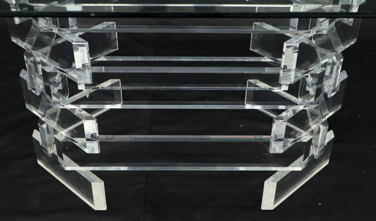 Polished Racetrack Oval Glass Top Stacked Lucite Blocks Base Dining Table For Sale