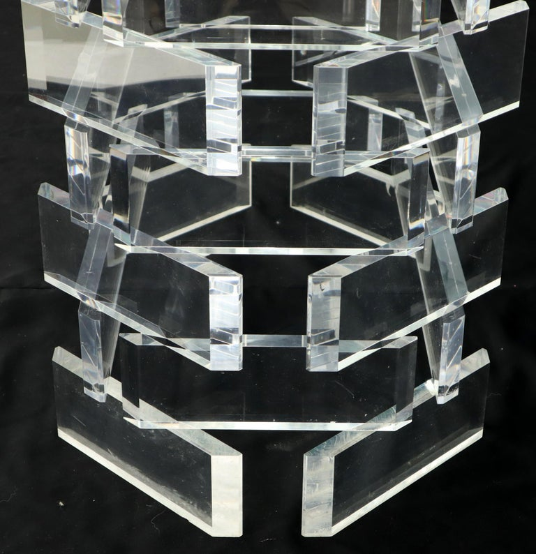 20th Century Racetrack Oval Glass Top Stacked Lucite Blocks Base Dining Table For Sale