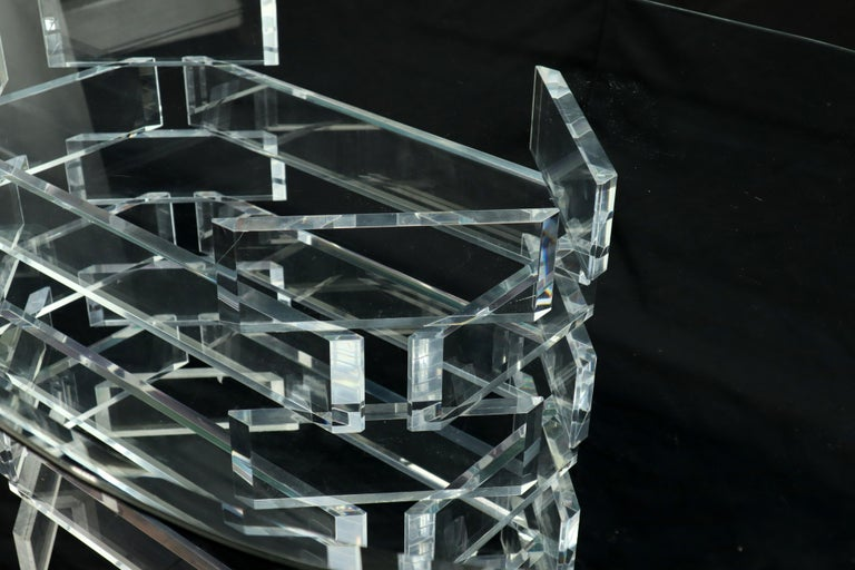 Racetrack Oval Glass Top Stacked Lucite Blocks Base Dining Table For Sale 2