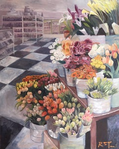 Large Oil on Canvas of a Flowers for Sale, Painting, Oil on Canvas