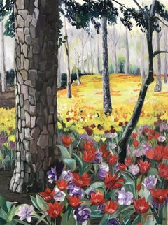 Spring Tulips Woodland at Garvan Botanical Gardens, Painting, Oil on Canvas