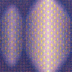 """BON VOYAGE"", oil painting on linen, geometric, purple, yellow, red, sparkle"