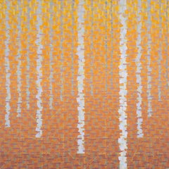 """""""ENDLESS SEASON"""", oil painting on linen, geometry, nature, copper, silver, trees"""