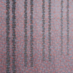 """NEVERTHELESS"", oil painting on linen, geometric, violet, orange, grey, trees"
