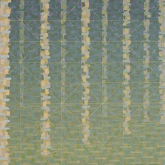 """""""TURNING POINT"""", oil painting on linen, geometric, olive, green, tan, trees"""