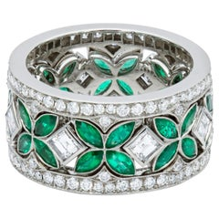 Rachel Koen Platinum Green Emerald Diamond Eternity Set of 3 Ring