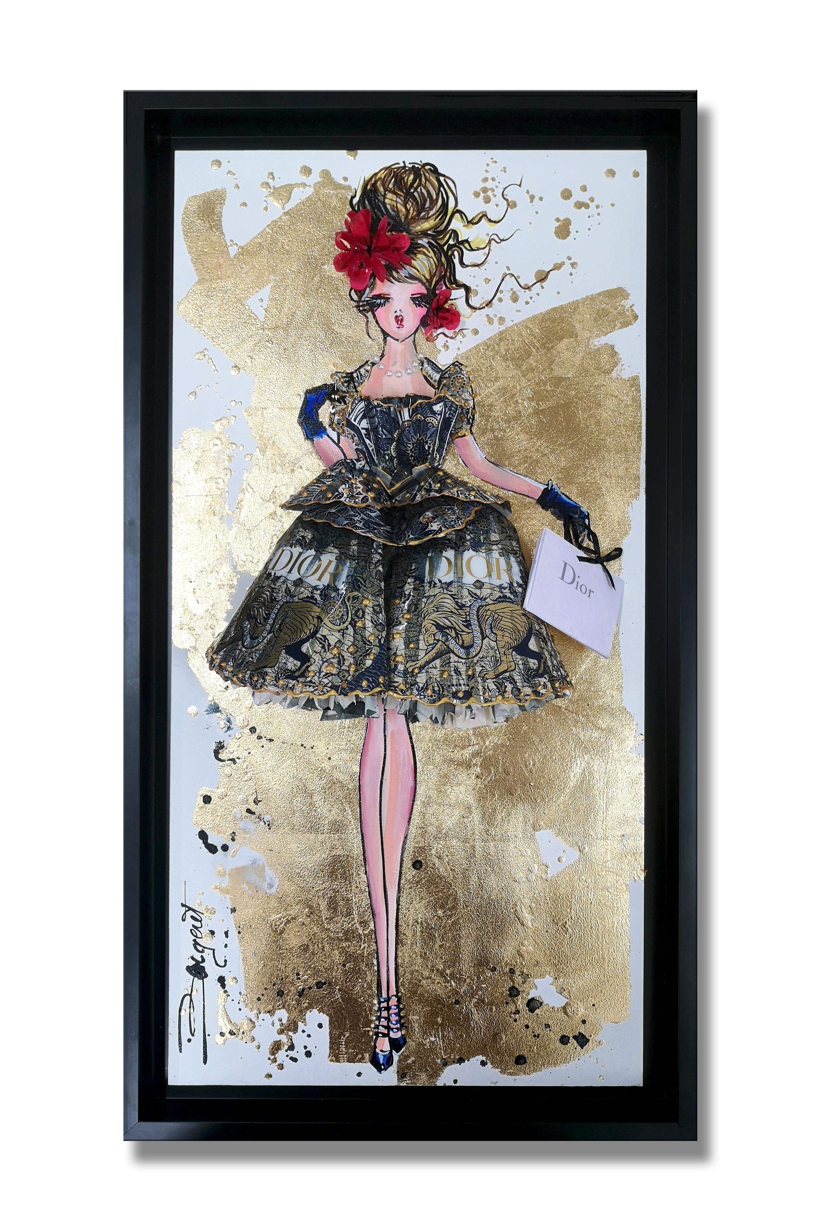 DIOR HOMMAGE - 3D Sculpture and painting on wood