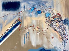 Wind, Breath, Life- Contemporary Gestural Abstract Painting in Blue + Cream