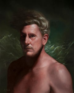 """""""Rise and Fall"""" portrait oil painting blonde man ocean sea waves"""