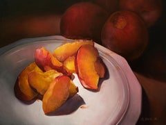 """""""Soft Skin and Fragile Light"""" still life painting peaches nectarines fruit"""