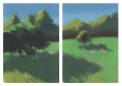 Bloom, spring day, green fields with trees, landscape diptych, monoprint