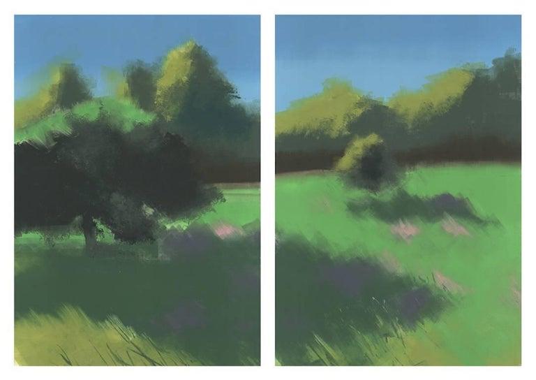 Rachel Burgess Landscape Print - Bloom, monoprint, 37 x 52 inches. Landscape diptych