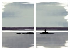 Calm, black, white and grey print of foggy day, landscape diptych