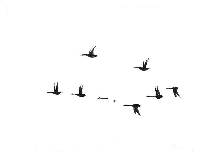 Rachel Burgess Landscape Print - Geese, monoprint, 37 x 52 inches. Black and white geese