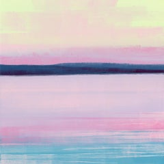 Lapping, bright abstract monoprint of lake, pink and blue