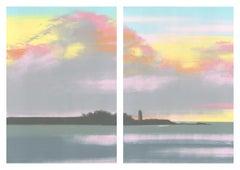 Lighthouse, pastel sunset over river, lighthouse, landscape diptych