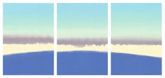 Meadow, blue landscape triptych, monoprint