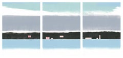 Pink Dawn, blue monoprint of waterscape, triptych