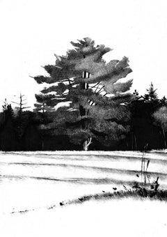 Resident, black and white print of tree